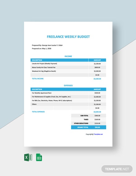 Free Weekly Freelance Budget Template