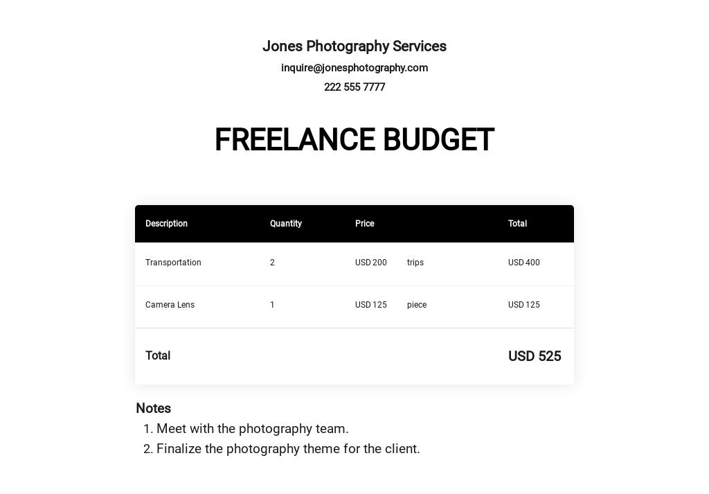 Free Basic Freelance Budget Template