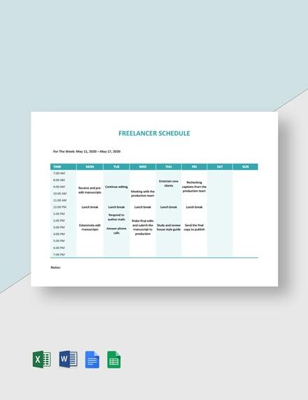 Freelancer Schedule Template