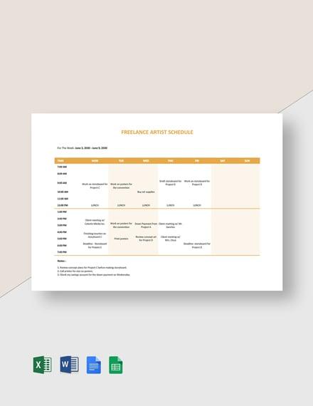Freelance Artist Schedule Template