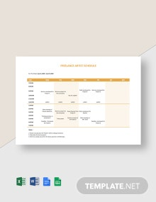 Freelance Artist Schedule Template