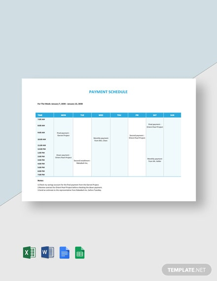 Freelance Payment Schedule Template