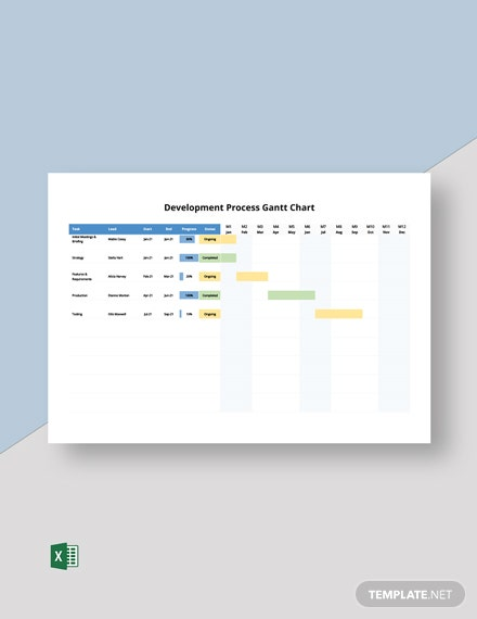 Development Process Gantt Chart Template