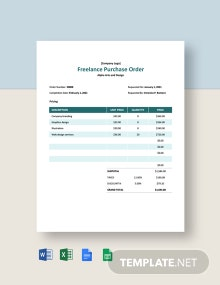 Freelance Purchase Order Template