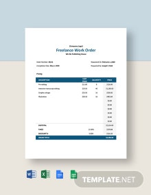 Freelance Work Order Template