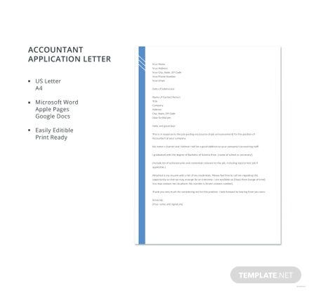 Free Accountant Application Letter Template