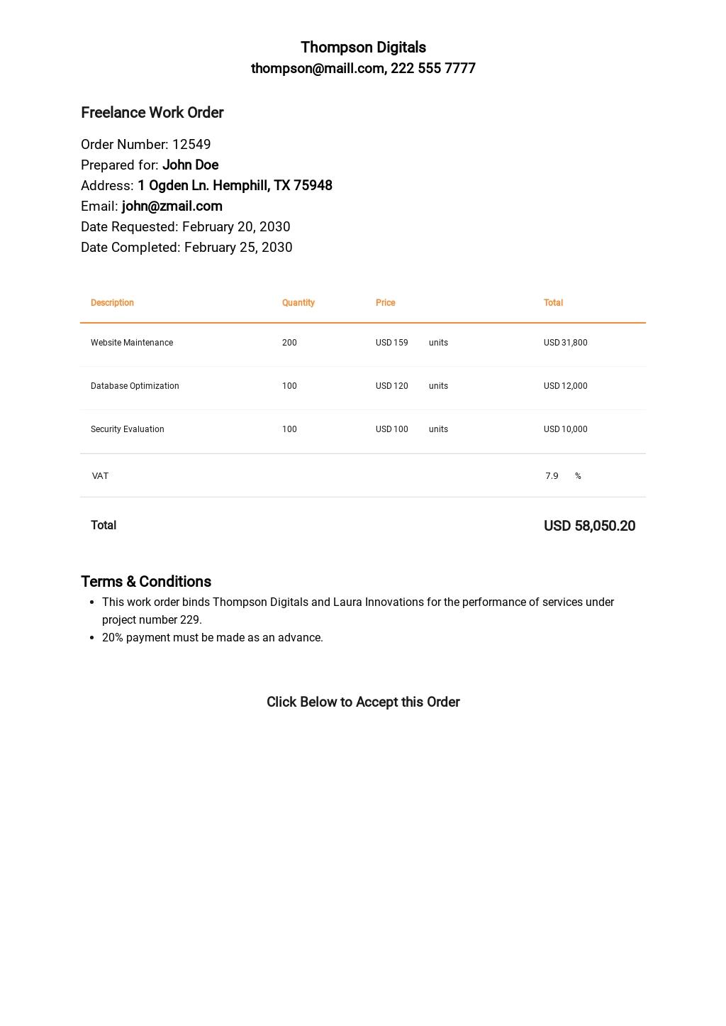 Sample Freelance Order Template