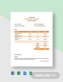 Free Sample Freelance Order Template