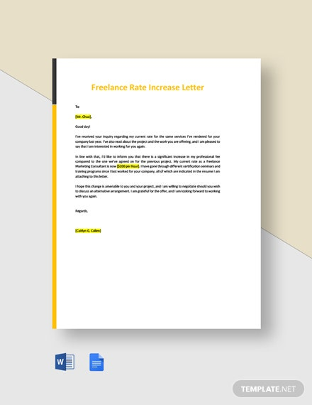 Freelance Rate Increase Letter Template