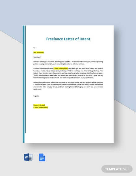 Freelance Letter of Intent Template