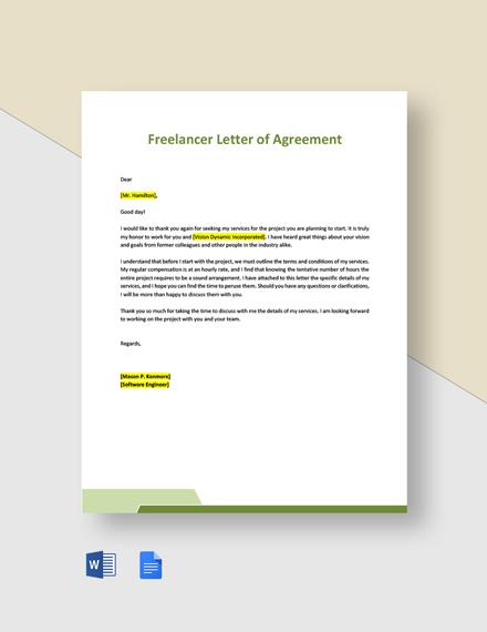 Freelancer Letter of Agreement Template