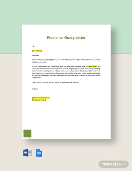 Freelance Query Letter Template