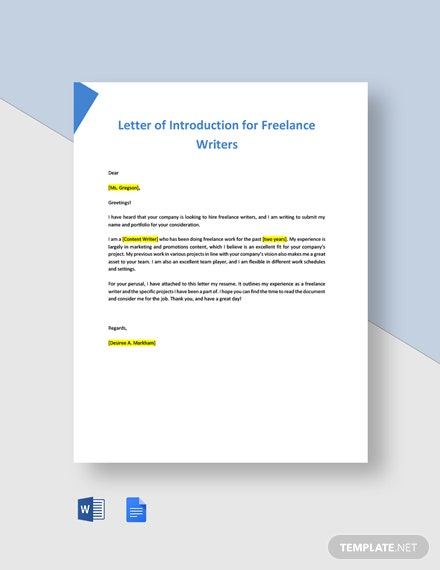 Letter of Introduction for Freelance Writers