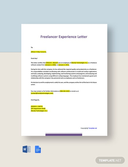 Freelancer Experience Letter Template
