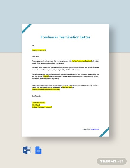 Freelancer Termination Letter Template
