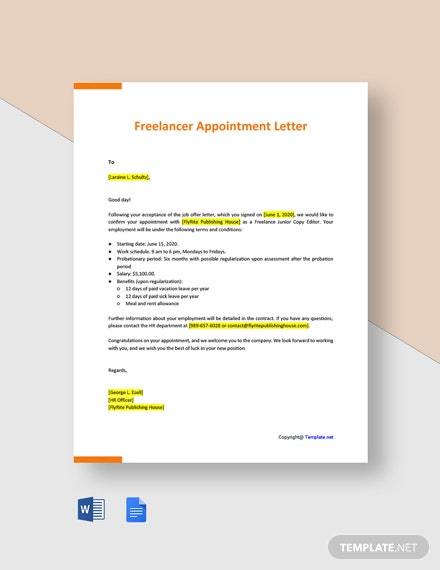 Freelancer Appointment Letter Template