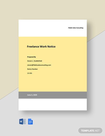 Freelance Work Notice Template
