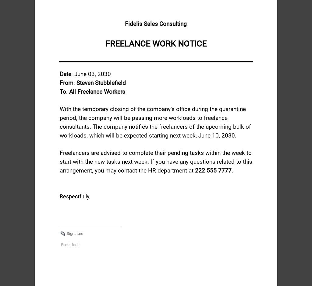 Freelance Work Notice Template