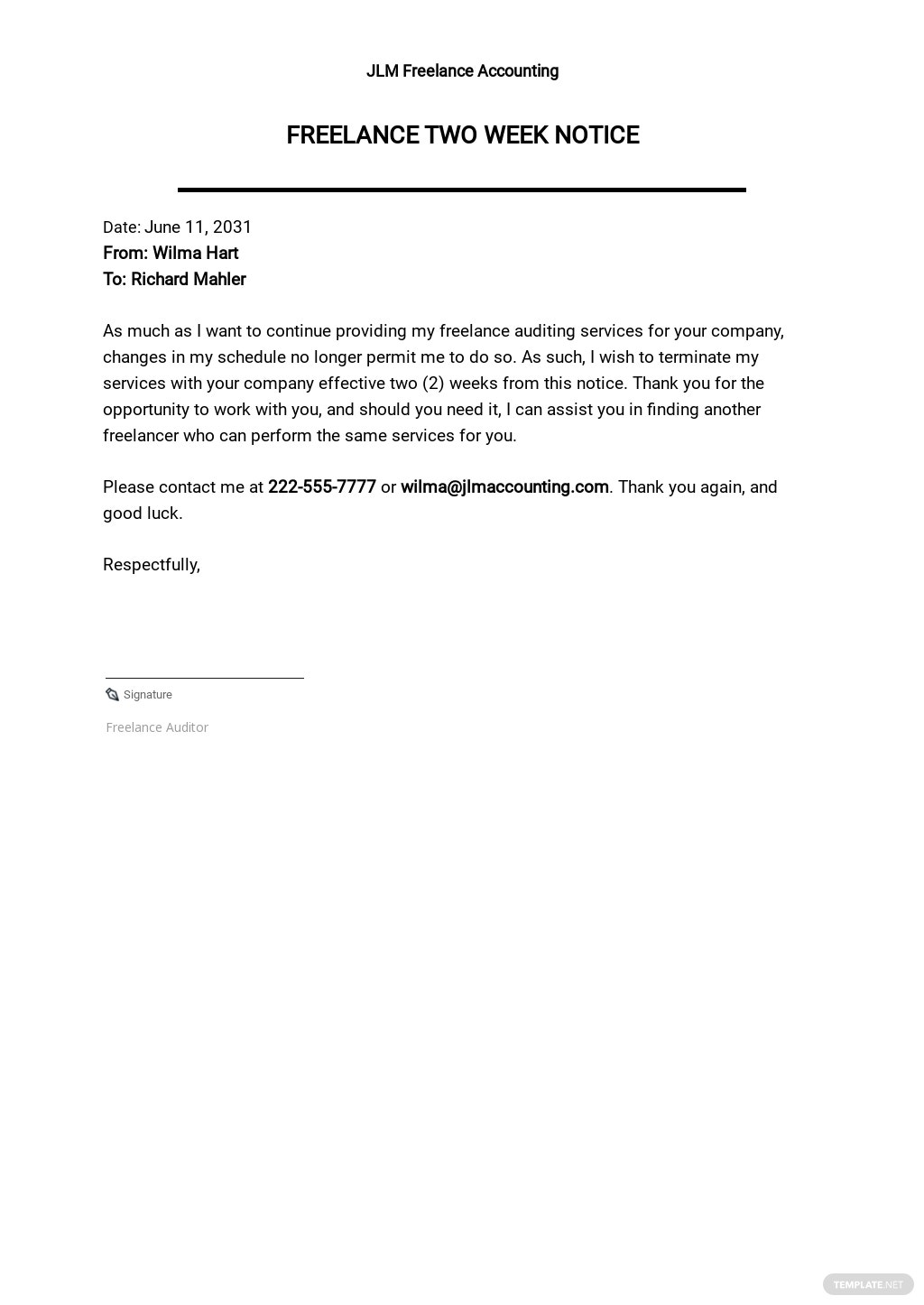 FREE Freelance Two Weeks Notice Template - Google Docs, Word