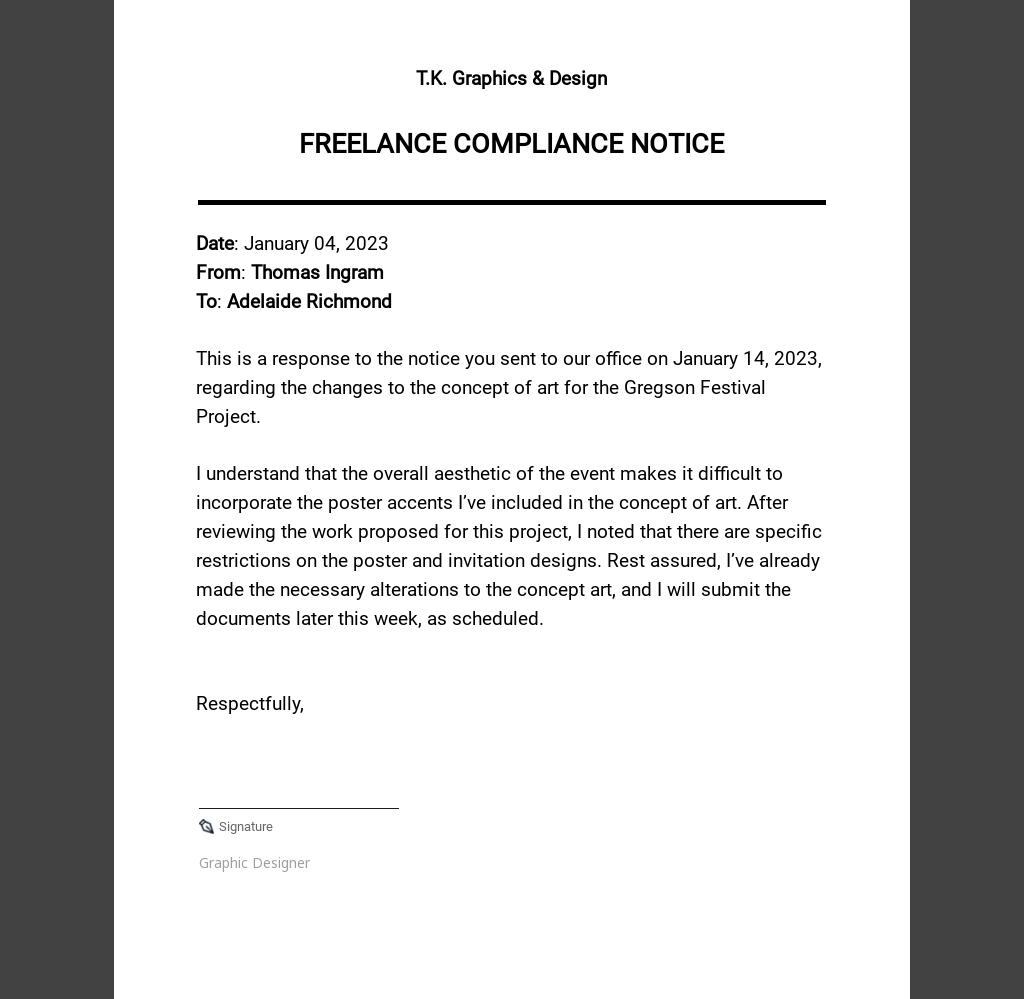 Freelance Compliance Notice Template