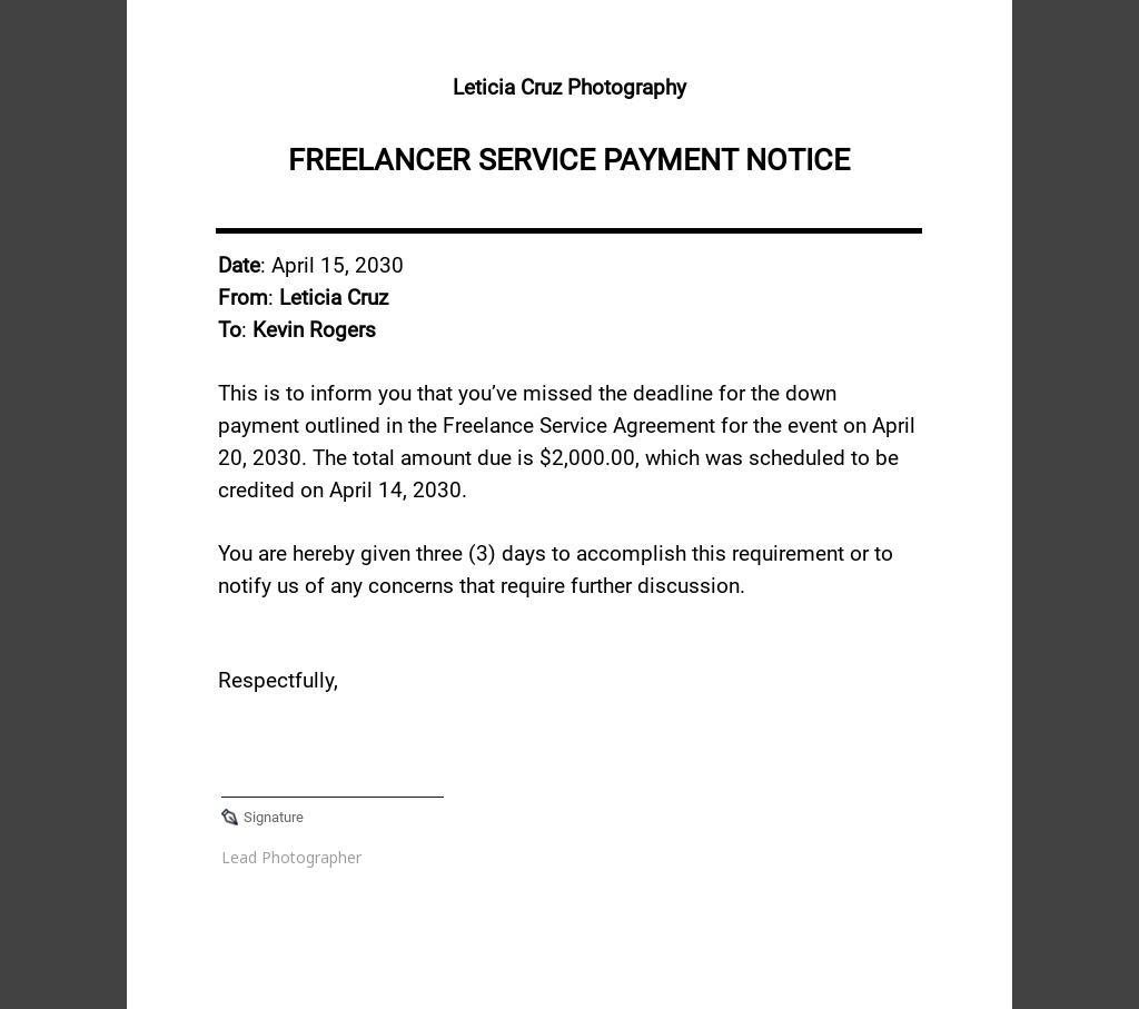 Free Sample Freelancer Notice Template