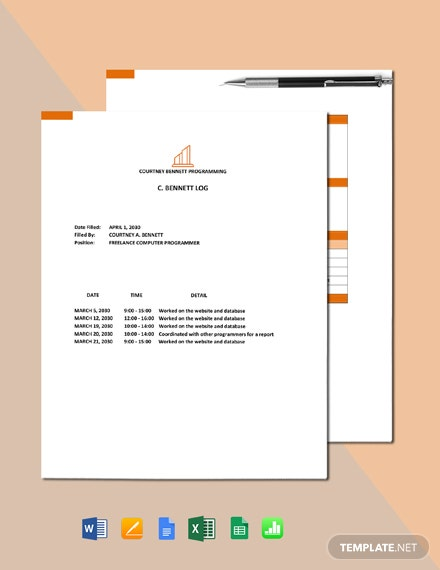 Freelance Work Log Template