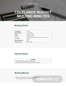 Freelance Budget Meeting Minutes Template