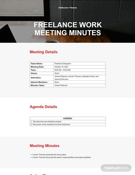 Freelance Work Meeting Minutes Template