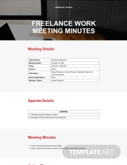 Freelance Work Meeting Minutes Template