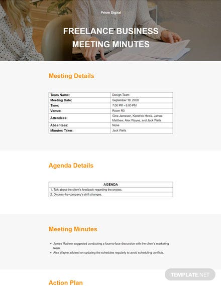 Freelance Business Meeting Minute Template