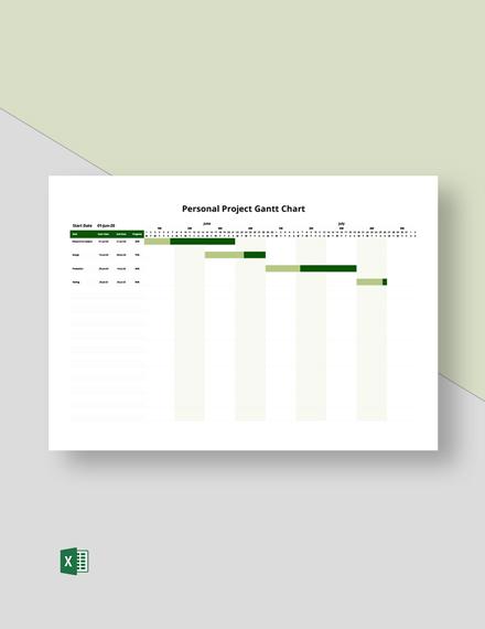 Personal Project Gantt Chart Template
