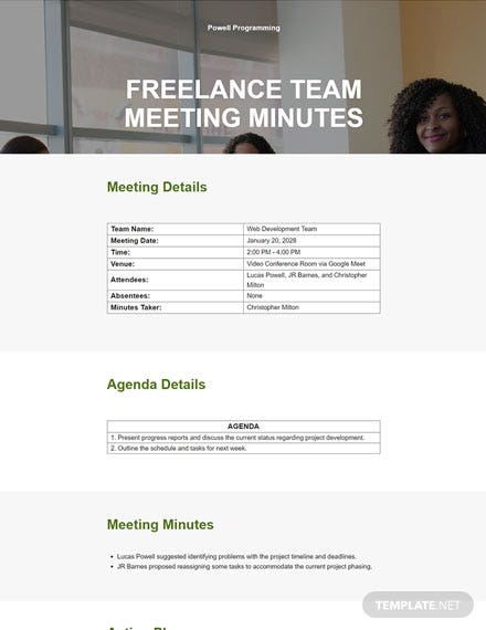 Free Basic Freelance Meeting Minutes Template