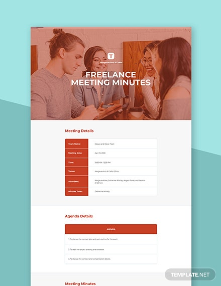 Free Simple Freelance Meeting Minute Template