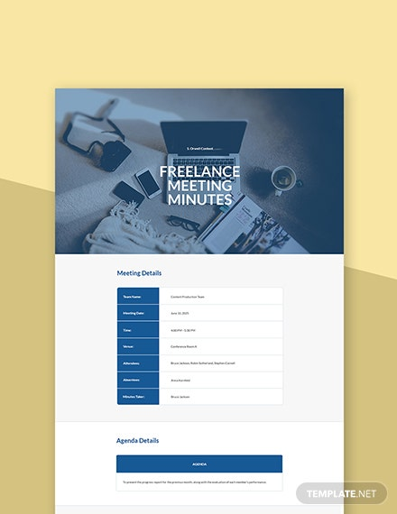 Free Sample Freelancer Meeting Minutes Template