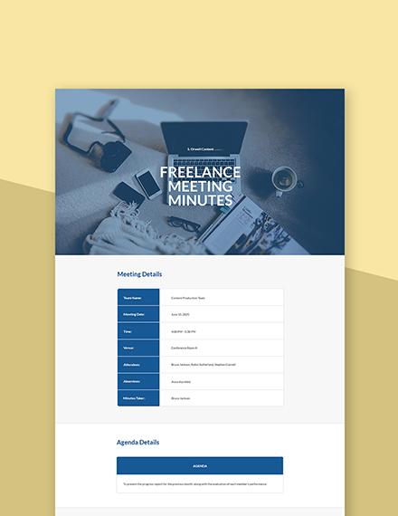 Free Sample Freelancer Meeting Minutes Template