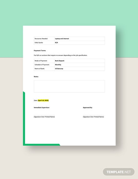 Permission to Work AtHome Form Template