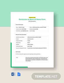 Permission to Work At-Home Form Template