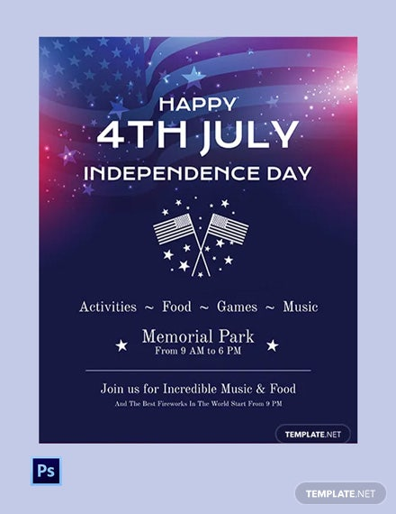 Free Simple th of July Flyer Template