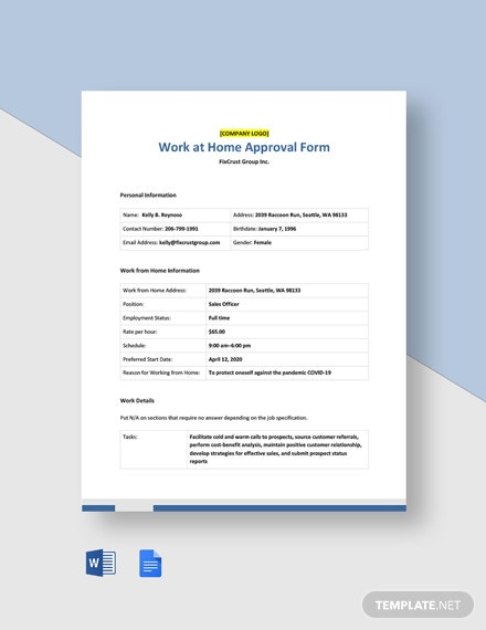 Work at Home Approval Form Template