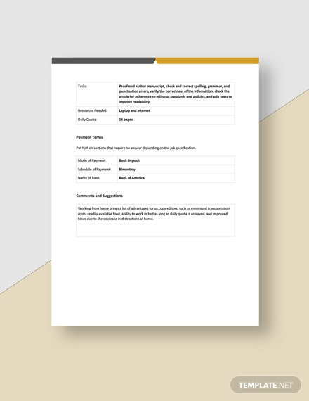 Work From Home Feedback Form Template