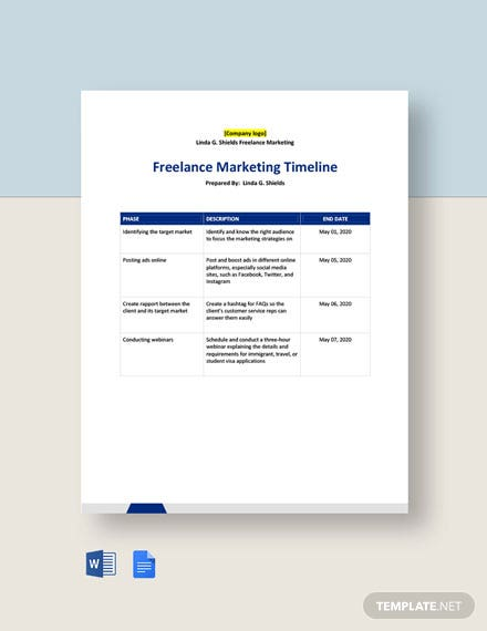 Freelance Marketing Timeline Template