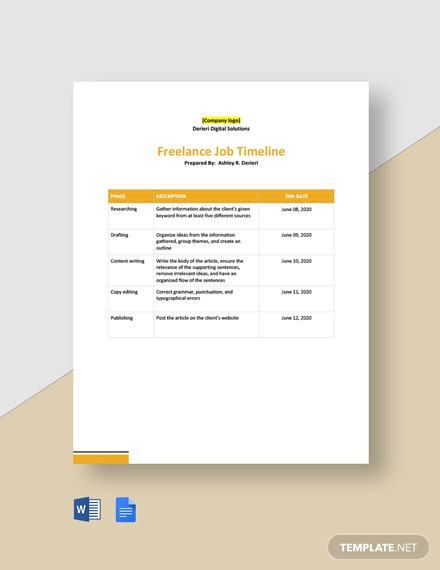 Freelance Job Timeline Template
