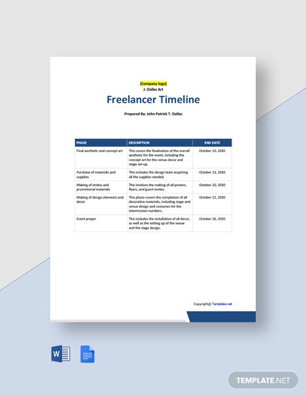 Free Blank Freelancer Timeline Template