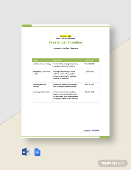 Free Sample Freelancer Timeline Template