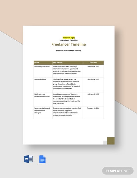 Free Freelancer Timeline Template