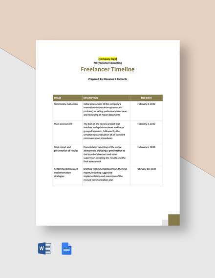 Freelancer Timeline Template