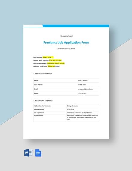 Freelance Job Application Form Template
