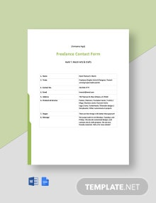 Freelance Contract Form Template