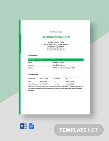 Freelance Invoice Form Template