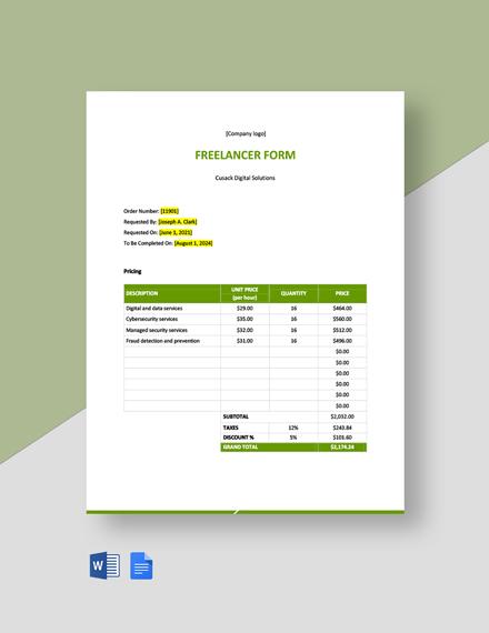 Blank Freelancer Form Template